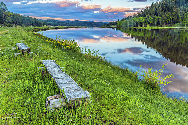 Bailey, benches, Colorado, Deer Creek Valley, Landscape, pond, reflections, sunset