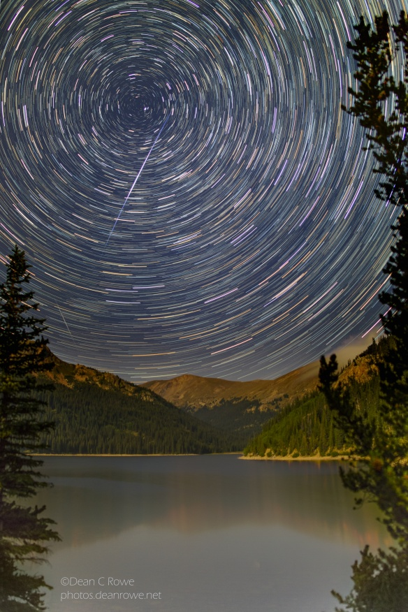 Star trails, Iridium Flare and a meteor over Jefferson Lake, Park County, Colorado
