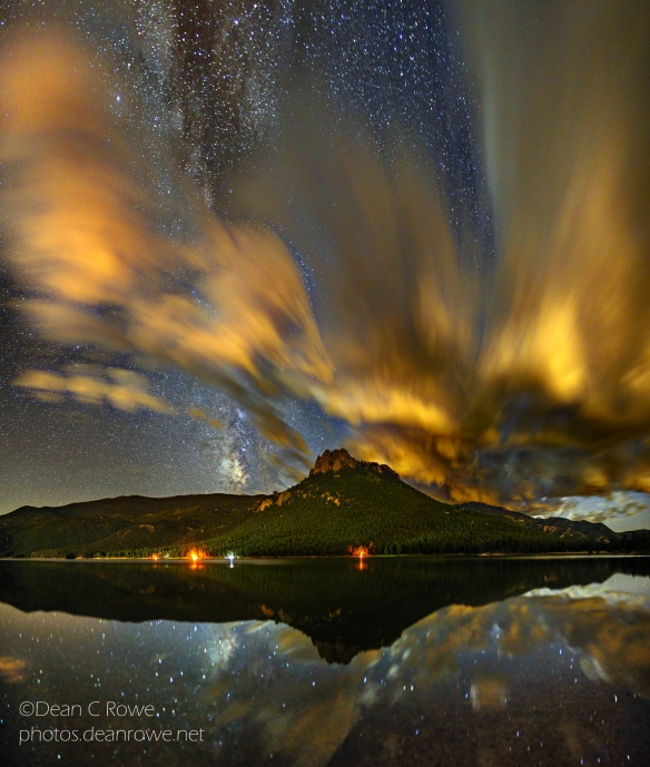 The Castle,MilkyWay and Cloud Reflections over Wellington Lake, Park County, Colorado