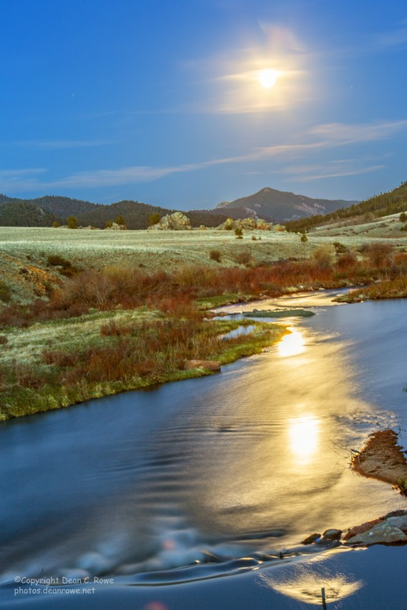 Moonrise reflecting on Tarryall Creek